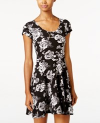 Planet Gold Juniors' Printed Fit And Flare Dress Black Grey Floral