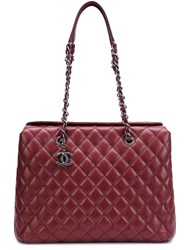 Chanel Vintage 'City' Shopper Tote Pink And Purple