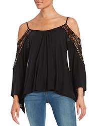 Vintage Havana Crochet Trimmed Cold Shoulder Top Black