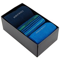 Boss Logo Boss Stripe And Plain Socks Gift Set One Size Pack Of 3 Blue