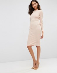 Asos Bodycon Dress With Sexy Seam Detail In Rib Nude Pink