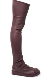Rick Owens Stretch Leather Thigh Boots Red