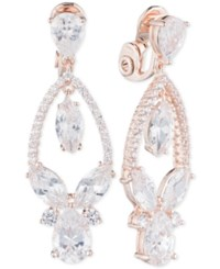 Anne Klein Multi Crystal And Pave Orbital Drop Clip On Earrings Rose Gold