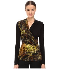 Versace Long Sleeve Printed Wrap Top Nero Women's Clothing Black