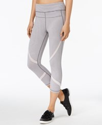 Calvin Klein Performance Striped Capri Leggings Heather Grey Storm Stripe