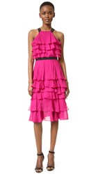 Prabal Gurung Ruffle Dress Fuchsia