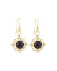 Jude Frances Judefrances Jewelry 18K Modern Compass Rose Onyx Pearl And Diamond Earring Charms