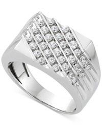 Macy's Men's Diamond Diagonal Ring 1 Ct. T.W. In 10K White Gold