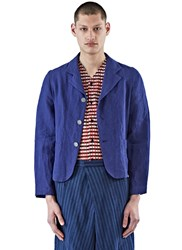 Aganovich Short Linen Jacket Blue