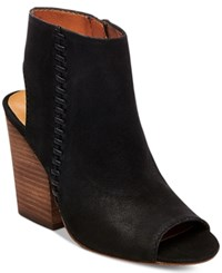 Steve Madden Women's Mingle Peep Toe Block Heel Booties Women's Shoes Black Nubuck