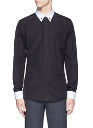 Givenchy Star Stud Pique Trim Poplin Shirt Black