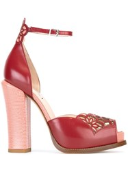 Fendi Laser Cut Platform Sandals Red