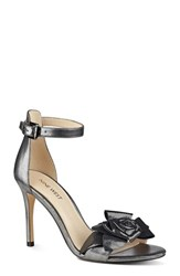 Nine West Women's 'Martine' Ankle Strap Sandal Pewter Fabric