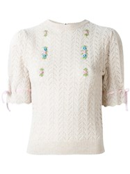 Olympia Le Tan Flower Detail Knit T Shirt Nude And Neutrals
