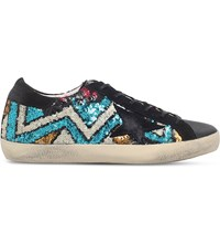 Golden Goose Superstar F17 Sequin Embellished Trainers Blue Other
