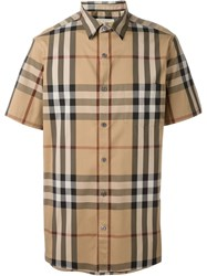 Burberry Brit Shortsleeved Checked Shirt Brown