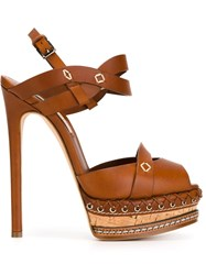 Casadei Peep Toe Stiletto Sandals Brown