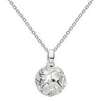 Kit Heath Sterling Silver Carved Ball Pendant