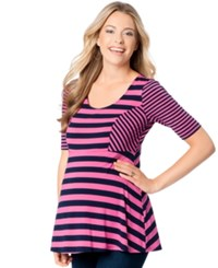 Motherhood Maternity Striped Peplum Top White Black Stripe