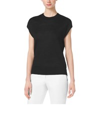 Michael Kors Cap Sleeve Linen Crewneck Top