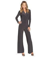 Norma Kamali Long Sleeve Modern Side Drape Jumpsuit Pewter Women's Jumpsuit And Rompers One Piece