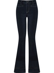 Giuliana Romanno High Waisted Flared Jeans Blue
