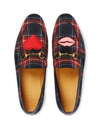Gucci Jordaan Tartan Formal Loafer Black Red