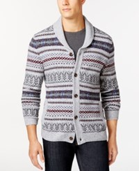 Tasso Elba Fair Isle Stripe Shawl Collar Cardigan Only At Macy's Silver Marl Combo