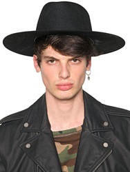 Off White Wide Brim Felt Hat Black