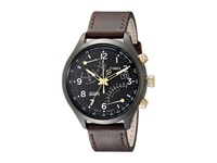Timex Intelligent Quartz Fly Back Chronograph Leather Strap Watch Black Brown Gray Watches