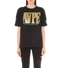 Aape By A Bathing Ape Metallic Logo Print Cotton T Shirt Black
