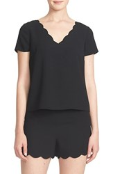 Women's Cece By Cynthia Steffe Scallop V Neck Blouse