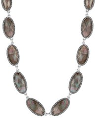 Lucky Brand Mother Of Pearl Semi Precious Rock Crystal And Epoxy Stone Collar Necklace Silver