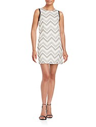 1.State Chevron Print Shift Dress Cashew