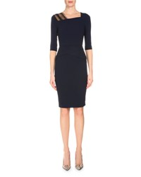 Roland Mouret 3 4 Sleeve Asymmetric Fitted Dress Navy Black