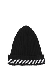 Off White Diagonals Wool Blend Knit Beanie