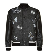 Valentino Embroidered Butterfly Wool And Leather Bomber Jacket Male Grey