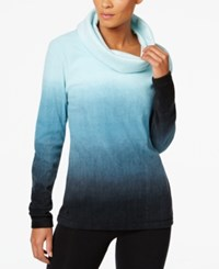 Ideology Fleece Cowl Neck Top Only At Macy's Teal Tonal Space Dye