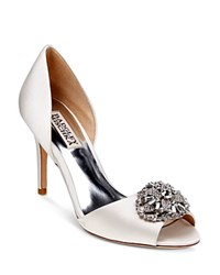 Badgley Mischka Dana Embellished Satin D'orsay High Heel Pumps White