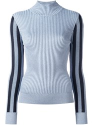 House Of Holland Lurex Turtle Neck Jumper Blue