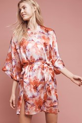 Anthropologie Samantha Chang Floral Silk Kimono Robe Orange Motif