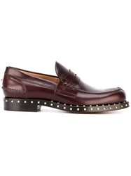 Valentino 'Rockstud' Penny Loafers Red