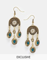 Designsix Coin Statement Earrings Gold