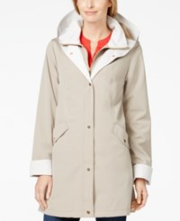 Jones New York Petite Hooded A Line Rain Coat Beach Tan