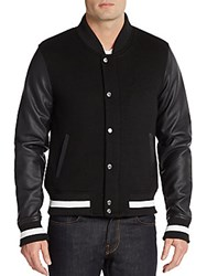 Members Only Faux Leather Sleeve Varsity Jacket Black