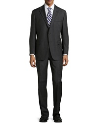 Hickey Freeman Worsted Wool Suit Black