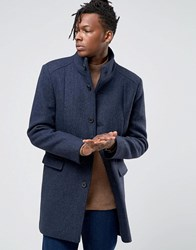 Selected Homme Herringbone Overcoat With Funnel Neck Navy
