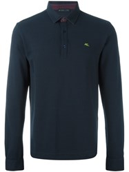 Etro Embroidered Longsleeved Polo Shirt Blue