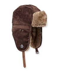 Penguin Corduroy Faux Fur Trapper Hat Chocolate