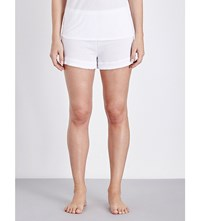 Skin Textured Panel Cotton Jersey Shorts Snow